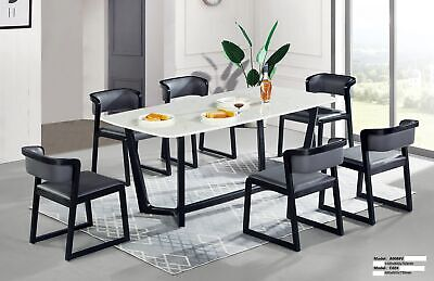 Dinner Seat Pads Table Wood Leather Fabric Set Lehn Tables 6x Chairs Chair Set