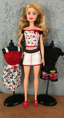 Ooak Barbie Doll In Mix/Match Clothes And Shoes Lot