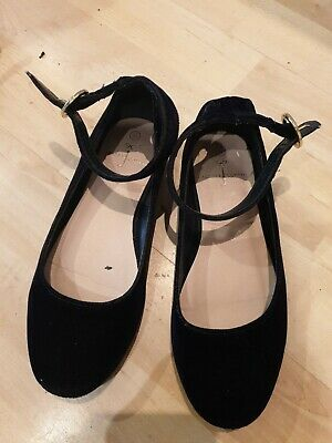 Girls Navy Blue Suede Flat Shoes With Ankle Straps By Jasper Conran size 11