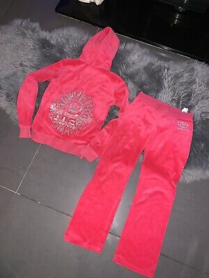 Juicy Couture Usa Black Label Pink Jewelled Velour Tracksuit Age 10-12 Vgc