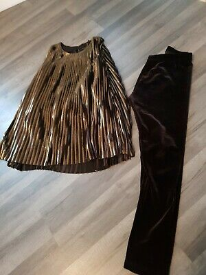 Girls Next Tunic Dress Top & velvet Leggings Outfit age 9
