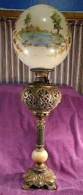 Antique Solid Brass Victorian Gone with the Wind Oil Lamp w/hand Painted Globe