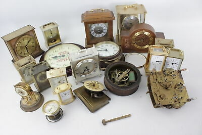 Job Lot Of 20 Assorted Vintage CLOCK PARTS & MOVEMENTS Inc Hand-Wind, Cases Etc