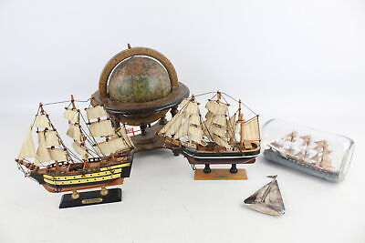5 x Assorted Vintage Decorative NAUTICAL Items Inc. Ship In A Bottle, Globe Etc