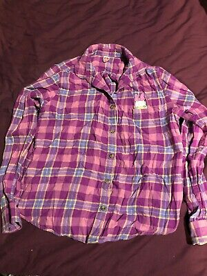 Girls Check Plaid Daisy Duck Shirt Blouse By Uniqlo Age 12