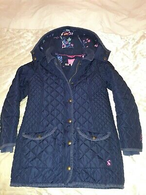 Joules Girls Quilted Coat/Jacket Navy Blue age 9 - 10