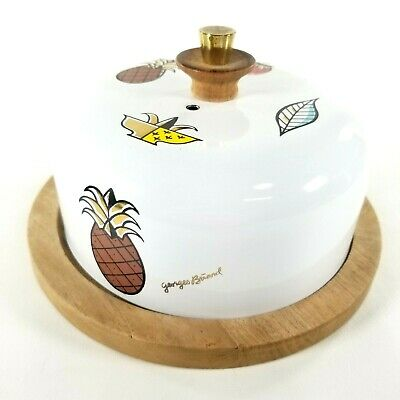 1960s Georges Briard Vintage Covered Metal Cheese Appetizer Serving Dish Tray