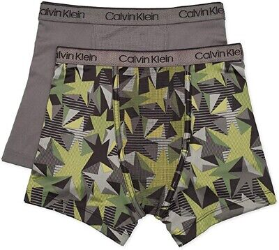 Calvin Klein Boy's Kids Performance Boxer Brief Underwear 2-Pack, Small(6/7)
