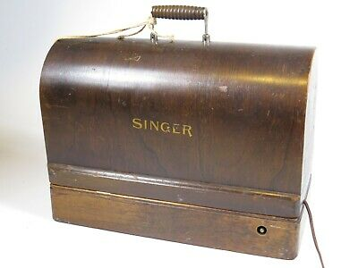 Antique SINGER Sewing Machine Bentwood Case Key Electric Light Works