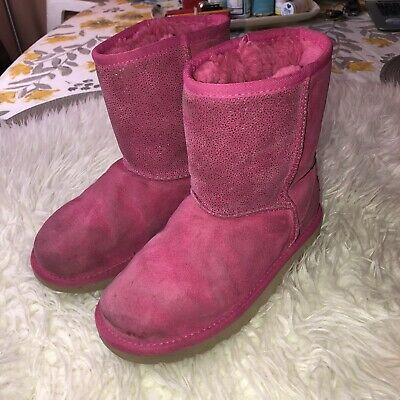 UGG Australia GIRLS Youth Pink Boots Sparkle Short Classic Serein Sz 3 US