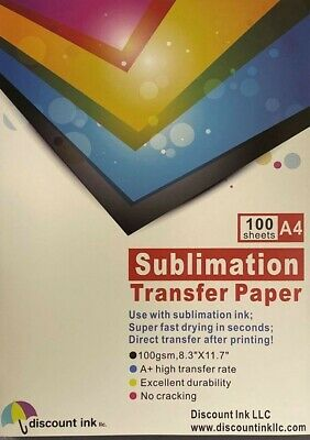 100Pcs A4 Sublimation Iron On Heat Transfer Paper for Inkjet T-Shirt Printer Mug