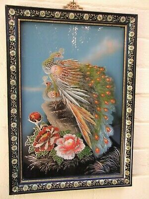 Chinese Reverse Glass Painting  Peacocks & Flowers Mother of Pearl Frame Vintage