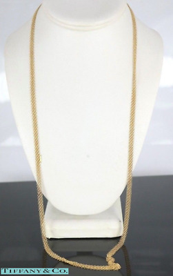 Tiffany & Co Elsa Peretti 18K Solid Yellow Gold 30'' Mesh Long Necklace