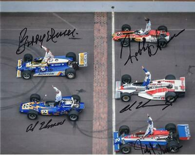 Unser Family signed Indy 500 8x10 photo - Bobby Unser - Al Unser - Al Unser Jr