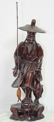"Antique 18"" Chinese Carved Wood Statue Fisherman Hunter Figurine"