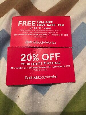 Bath And Body Works Coupons. 20% Off Entire Purchase In Store & Online