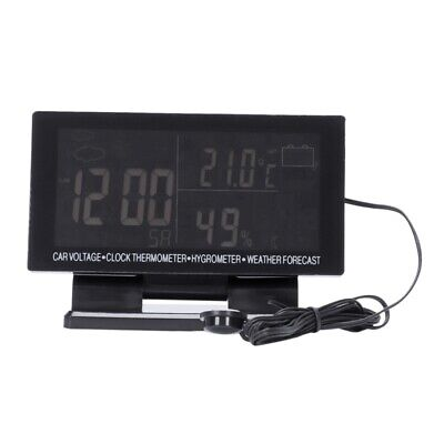 1X(4 In 1 Digital Car Thermometer Hygrometer Dc 12V Lcd Vehicle Voltage Clo6Y3)