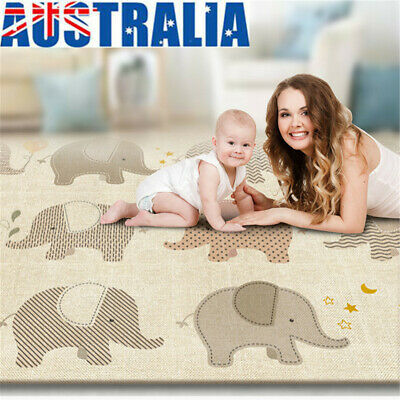 200*180cm Elephant Waterproof Floor Play Mat Rug Infant Baby Kids Crawling Game