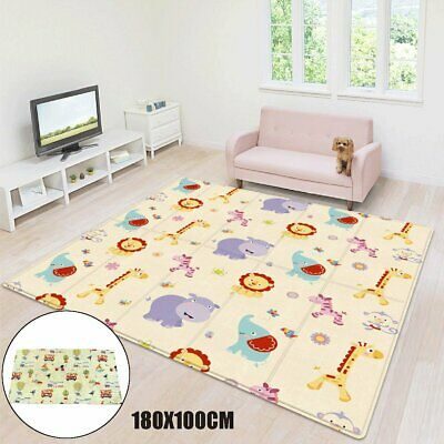 180x100x1cm Waterproof Folding Baby Crawling Play Cover Mat Rug Floor Carpet AU