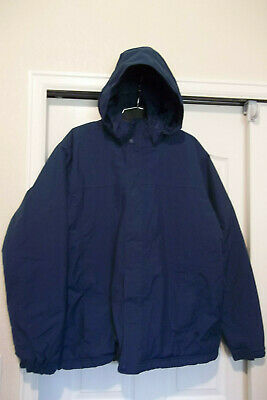 Ll Bean Mens Blue Nylon Thinsulate Insulated Hooded Jacket Fleece Lined Lrg Tall