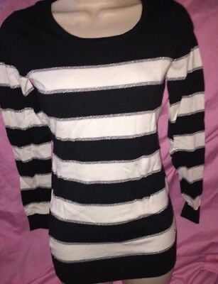 Guess Black White Silver Striped Longsleeve Shirt Size Small