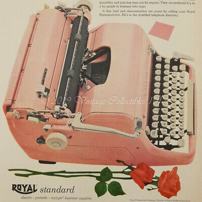 1955 Royal Quiet Deluxe Pink Typewriter Secretary Day Roses photo art vintage ad