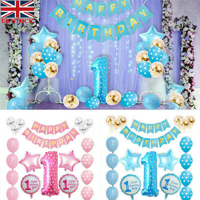First 1st Birthday Number 1 Baby Boy Girl Balloons Party Decoration 34pcs Set UK