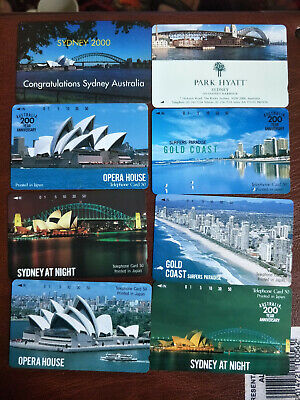 8 Mint Japanese Australian Tourism Phonecards Sydney and The Gold Coast