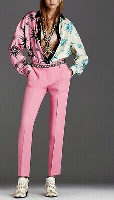 NWT New Fausto Puglisi Italy Pink Skinny Slim Dress Pants Slacks Women's Size 28