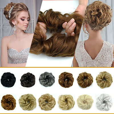 Large Curly Messy Bun Hair Piece Scrunchie Updo Cover Hair Extensions THICK UK