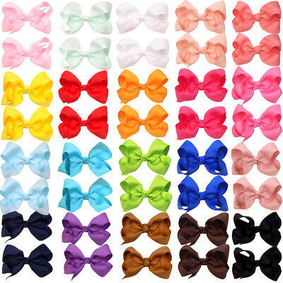 "40Pcs Girls Bow Clips  Grosgrain Ribbon 3"" Hair Bows For Toddlers In Pairs Lots"