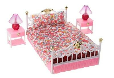 For Barbie Furniture Bed Room Play Set with 2 set Bedside Table Lamp Accessories