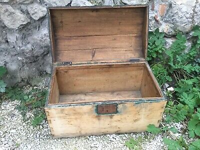 Antique French Trunk Wood Steamer Travel Rounded Top Original Marseille Chest