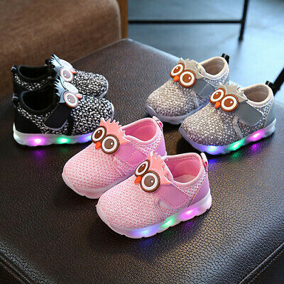 Infant Toddler Baby Shoes Girls&Boys Cute Cartoon LED Sport Shoes Kids Sneakers