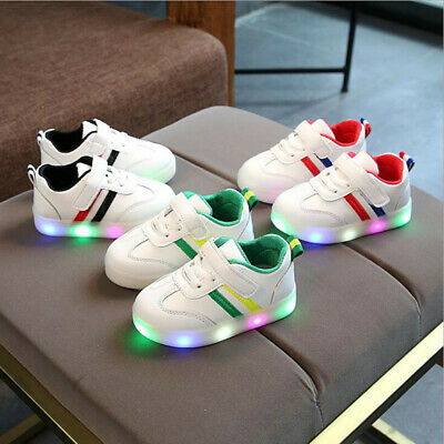 Toddler Kid Children Baby Shoes Girls&Boys Stripe LED Light Sneaker Casual Shoes