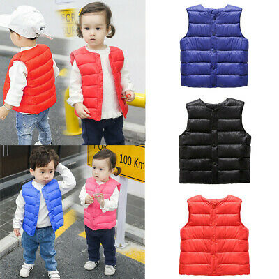 Toddler Kids Baby Jacket Girls Boys Solid Vest Warm Waistcoat Kids Outwear Coat