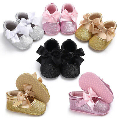Baby Infant Kids Shoes Girls Sequin Bowknot Soft Sole Crib Toddler Newborn Shoes