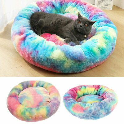Pet Dog Cat Calming Bed Warm Soft Plush Round Nest Comfy Sleeping Kennel Cave~