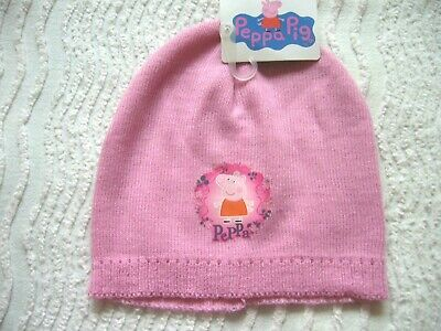 Bnwt Girls Peppa Pig Knitted Hat Pink One Size Suit 1-2 Years