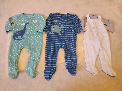 Baby Boys Fleece and Velour Sleepsuits 12-18 Months.  Warm Winter. Next