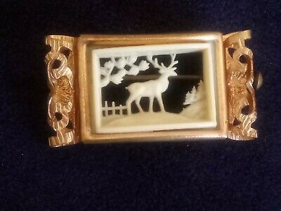 Art Deco Depose French Celluloid Stag Brooch barrel pin lock vintage antique