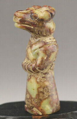 Old Chinese natural jade hand-carved old hong shan culture man pendant