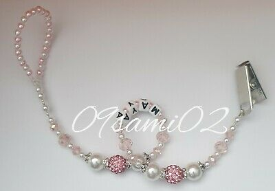 Personalised Baby Girls❤ Bling Dummy Clip, Pearl & Crystal ❤romany❤