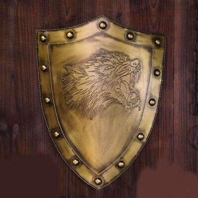 D40 Europe Retro Medieval Shield Antique Knight Armour Wall Home Decor Full Size