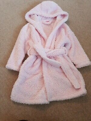 Girls Pale Pink Fluffy Dressing Gown Age 3-4 From Next