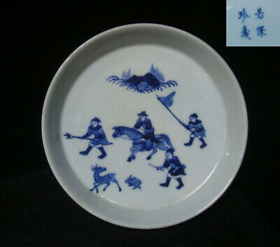 Fine Antique Chinese Blue and White Painting Porcelain Plate Marks