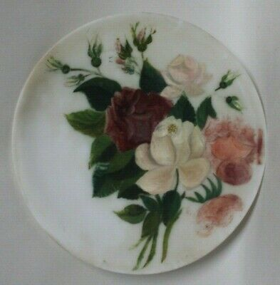 Chic HAND PAINTED Shabby Roses MILK GLASS PLATE