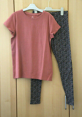 NEXT Girls Pink Short Sleeve Top & Animal Print Leggings Age 14 Years BNWT