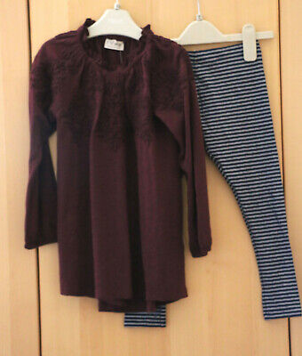 NEXT Girls Burgundy Embroidered Top & Navy Stripe Leggings Age 10 Years BNWT