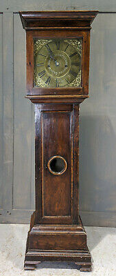 Charming Antique Georgian Oak & Brass Grandmother Clock